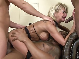 Nasty wed Kathy Kongo gets her first interracial triple deepness