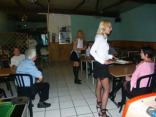 3 anal hot maids at coffee bar