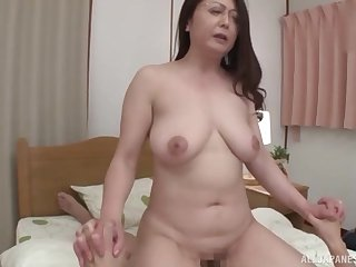 Japanese matured wife with glasses gives head and rides in cowgirl