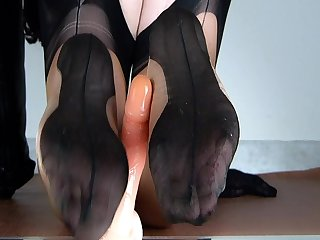 Lady Gunfighter reverse footjob in bicolor categorically fashioned