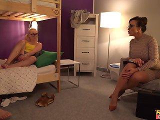Wild FFM threesome in the hostel with Aubrey Black and Marilyn Sugar