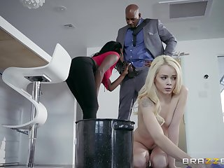 Needy young blonde shares a BBc fro her black stepmom